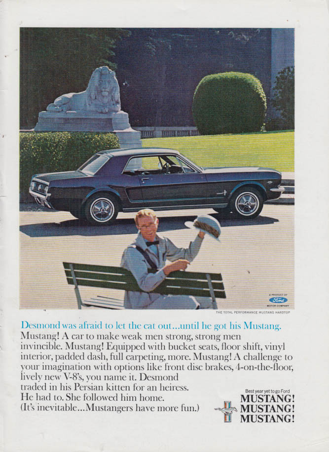 Image for Desmond was afraid to let the cat out Ford Mustang ad 1965 NY