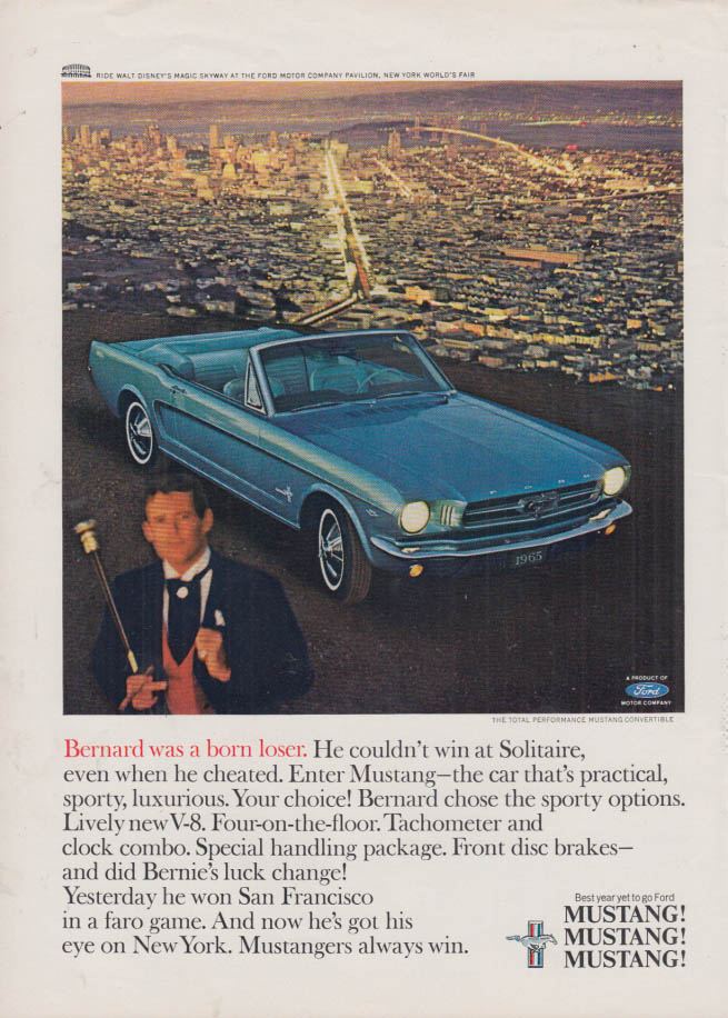 Image for Bernard was a born loser Ford Mustang Convertible ad 1965 NY