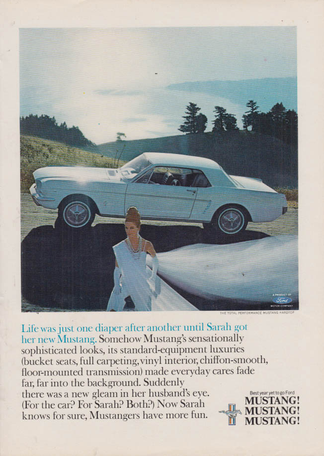Image for Life was just one diaper after another Ford Mustang ad 1965 NY