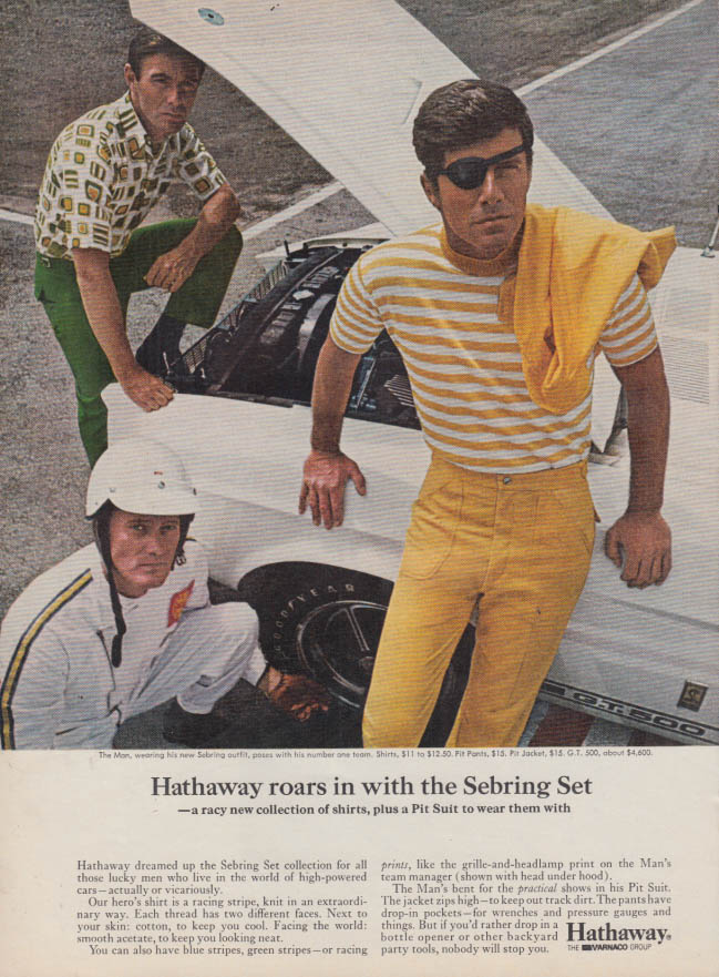 Image for Hathaway roars in with the Sebring set shirt ad 1968 Shelby GT 500 SI