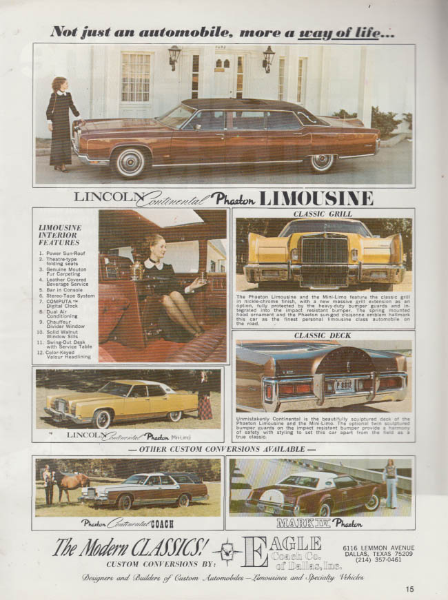 Image for Not just an automobile Lincoln Continental Phaeton Limousine ad 1973
