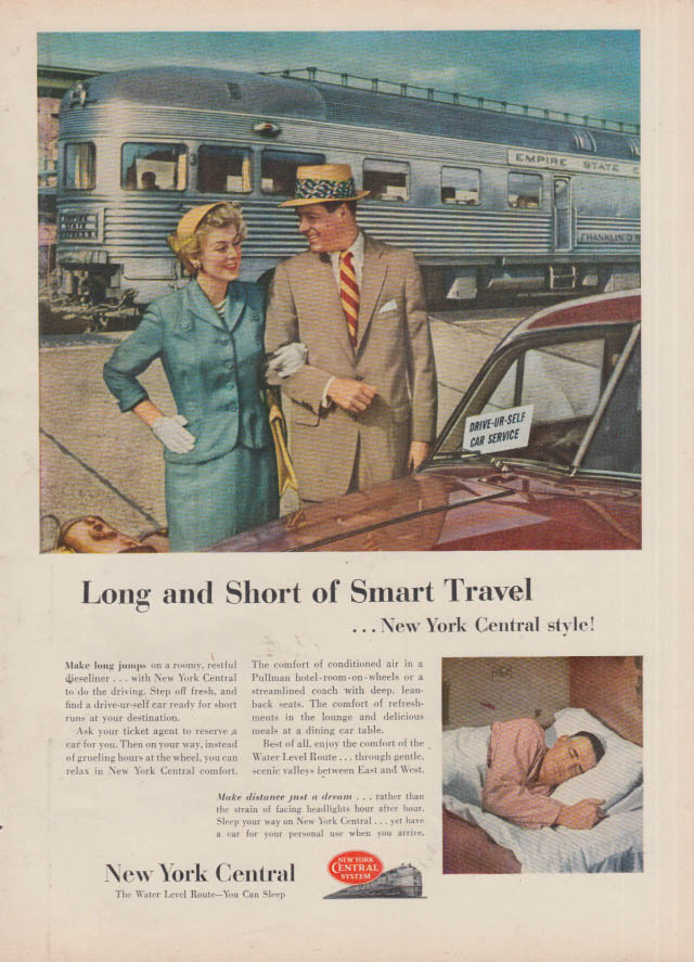 Image for Long & Short of Smart Travel New York Central Railroad ad 1953 T