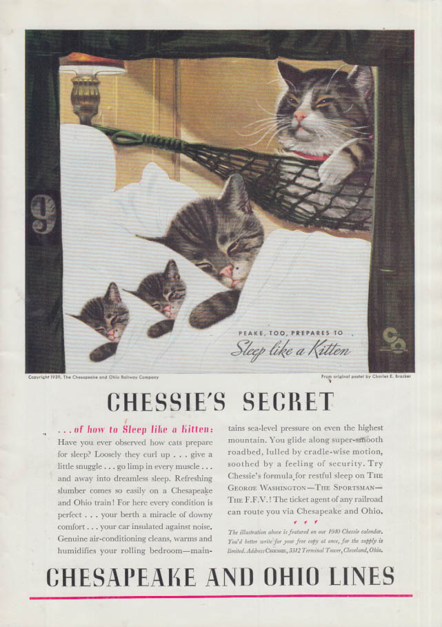 Image for Chessie's Secret of how to sleep like a kitten Chesapeake & Ohio RR ad 1939 T