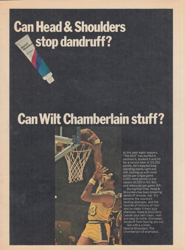 Image for Can Head & Shoulders stop dandruff? Can Wilt Chamberlain stuff? Ad 1969 SP