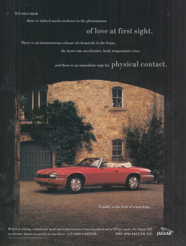 Image for Love at first sight Jaguar XJS convertible ad 1996 A&A