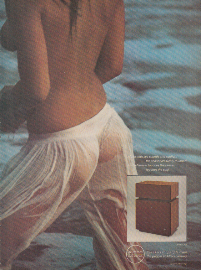 Image for Alone with sea sounds Altec Lansing Speakers ad 1977 topless model