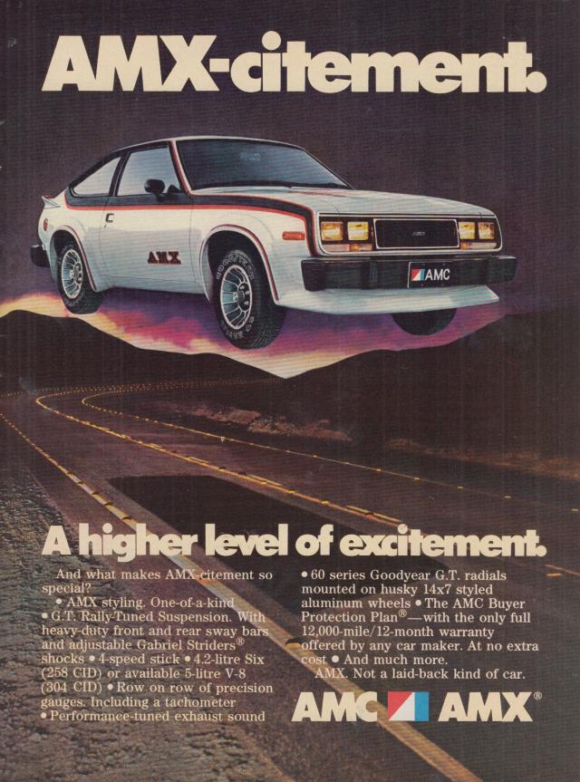 Image for A higher level of excitement AMC AMX-citement AMX ad 1979 SI