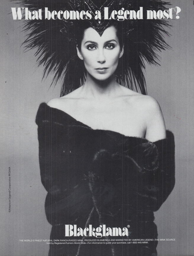 Image for What becomes a Legend most? Cher for Blackglama Mink ad 1986