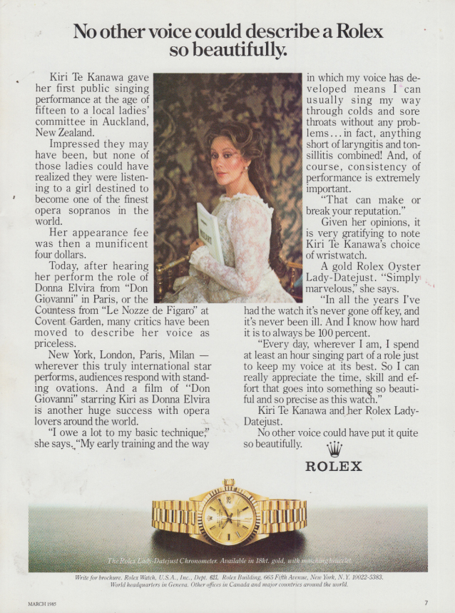 Image for No other voice could describe a Rolex so beautifully Kiri Te Kanawa ad 1985