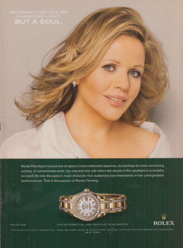 Image for Soprano Renee Fleming for Rolex Wristwatches ad 2007 NY