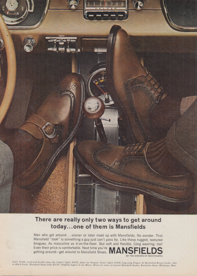 Image for Two ways to get around Mansfield Shoes & Ford Mustang ad 1967 SI