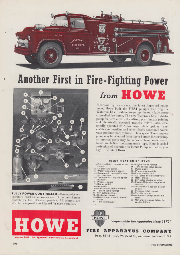 Image for Another first in Fire-Fighting Power - Howe Pumper fire truck ad 1958