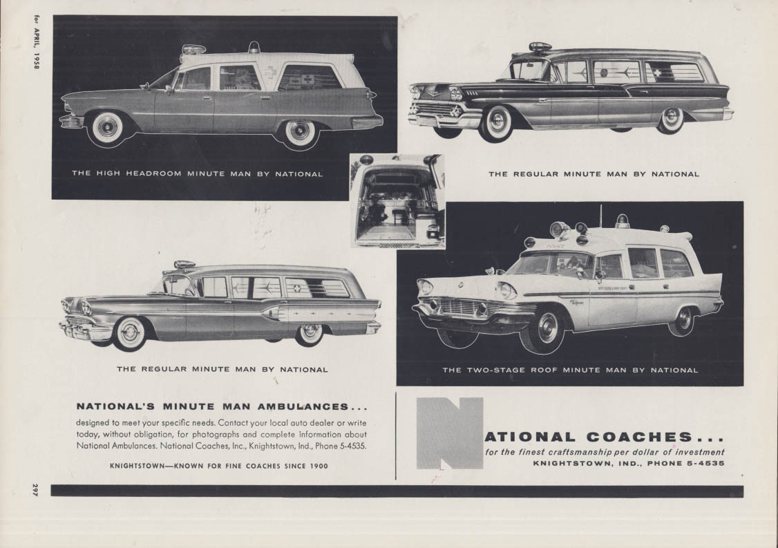 Image for National Coaches Imperial Chevrolet Chrysler Pontiac ambulances ad 1958