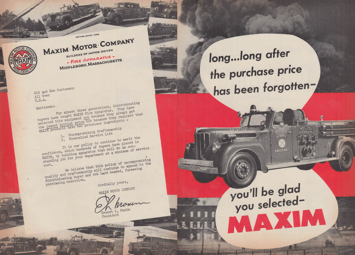 Image for You'll be glad you selected Maxim Fire Truck Pumper Gary IN ad 1955