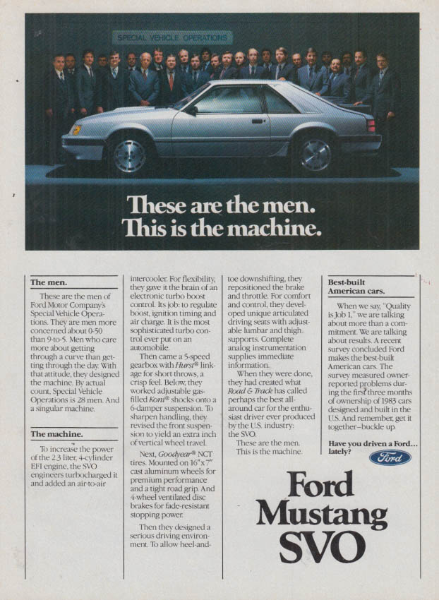 Image for These are the men This is the machine Ford Mustang SVO ad 1984
