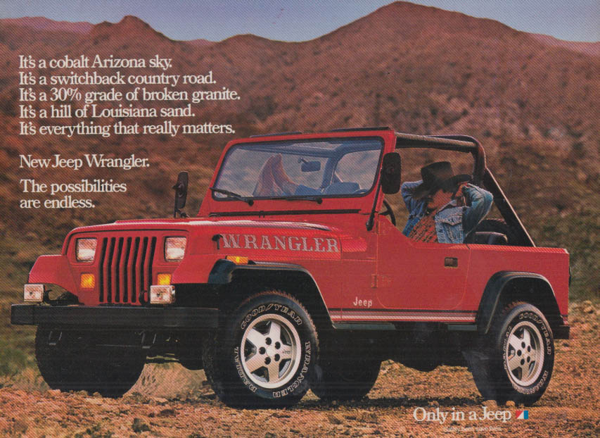 Image for The possibilities are endless Jeep Wrangler ad 1986 C&D