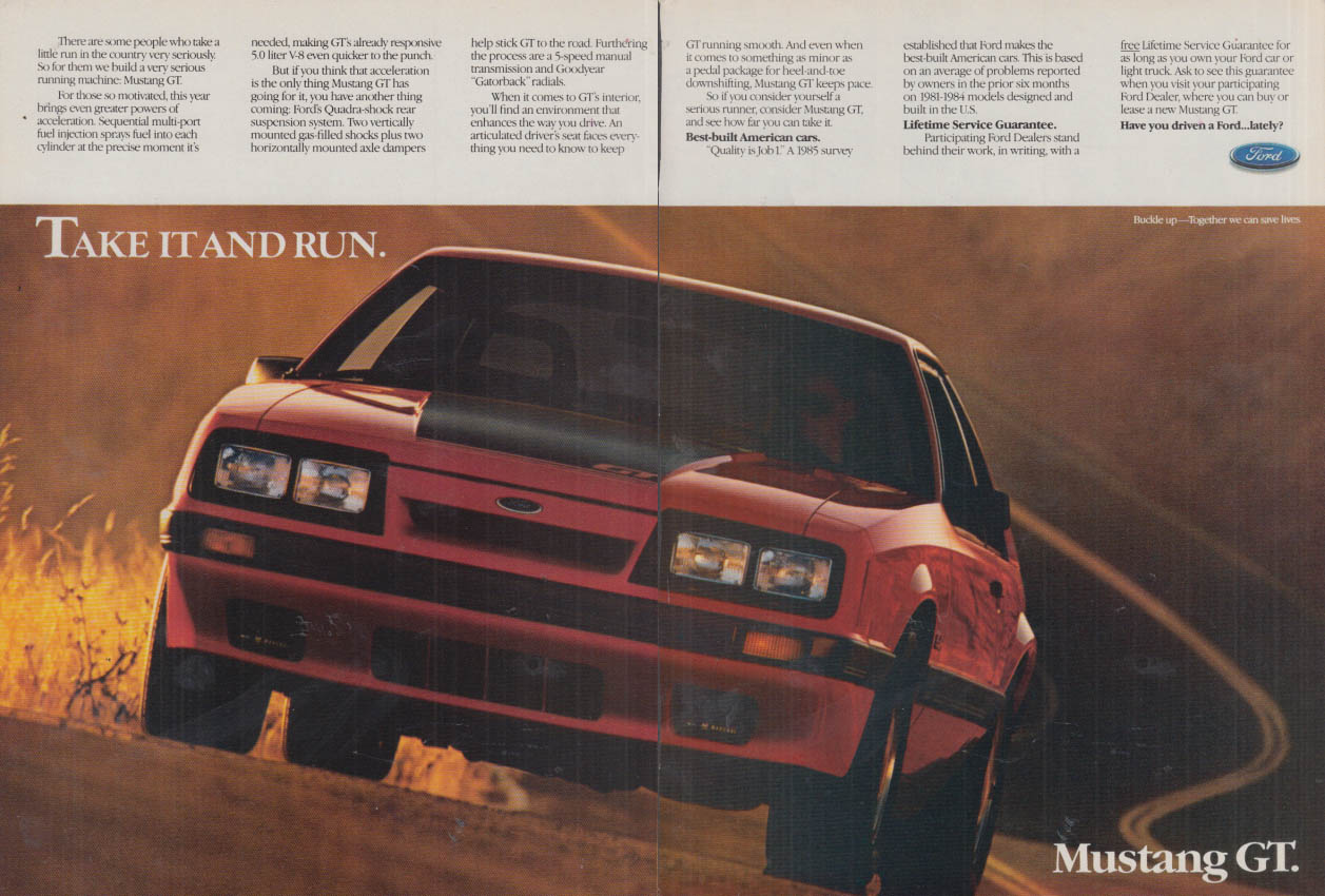 Image for Take It and Run - Ford Mustang GT ad 1986 R&T