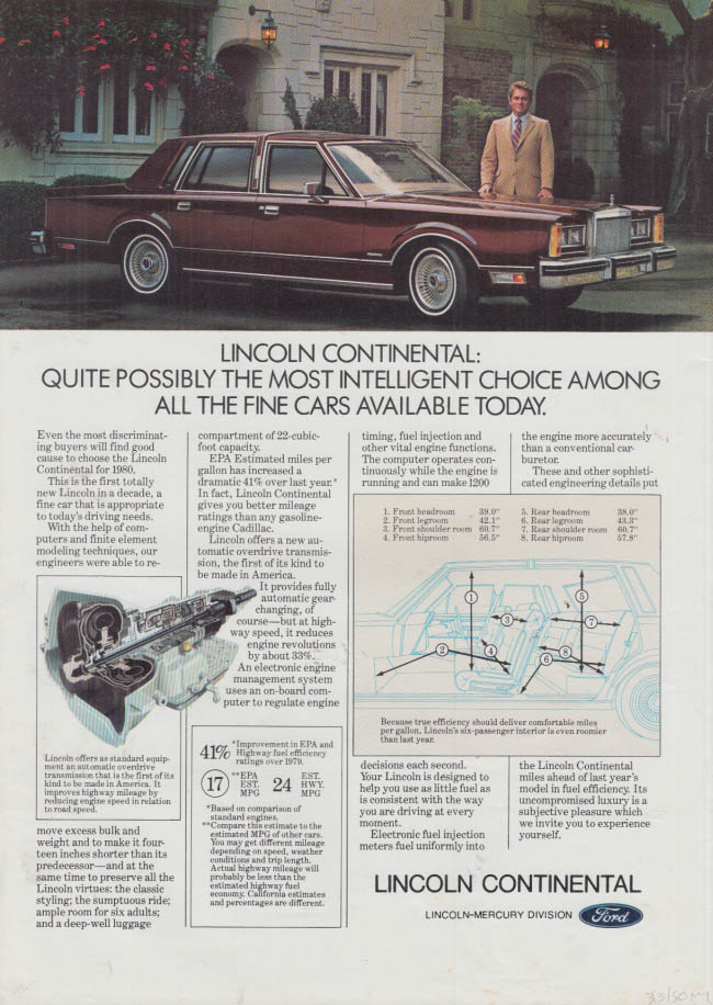 Image for Most intelligent choice among fine cars Lincoln Continental ad 1980 NY