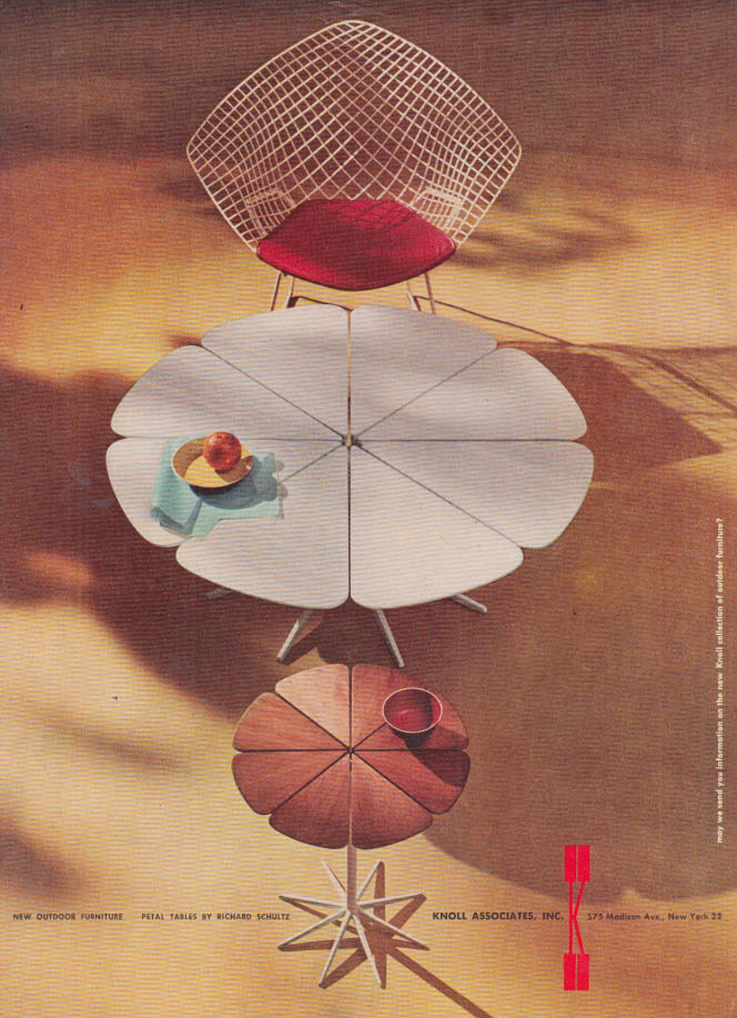 Image for Petal Tables by Richard Schultz for Knoll Associates ad 1960 NY