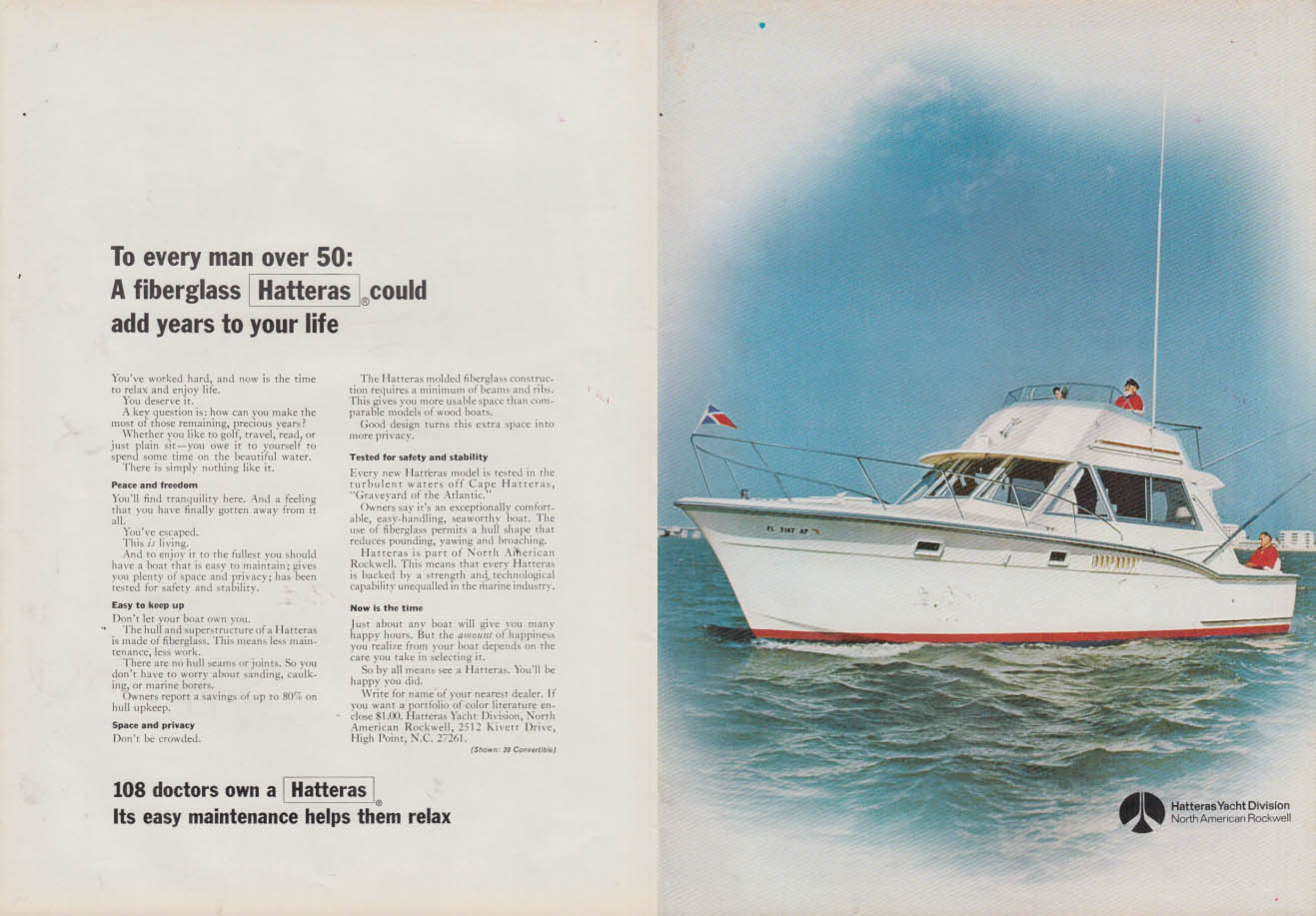 Image for Men over 50 - A Hatteras 38 Convertible yacht could add years ad 1970 NY