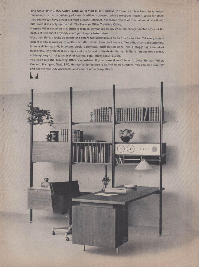 Image for The only thing you cant take is the room Herman Miller Office Furniture ad 1961