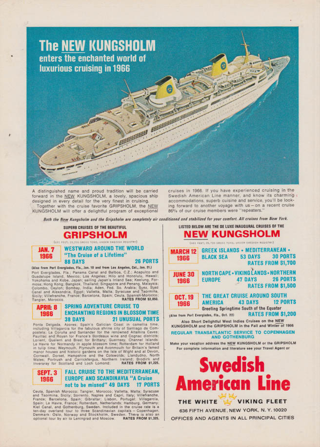 Image for Enchanted luxurious cruising Swedish American Line S S Kungsholm ad 1965 NY