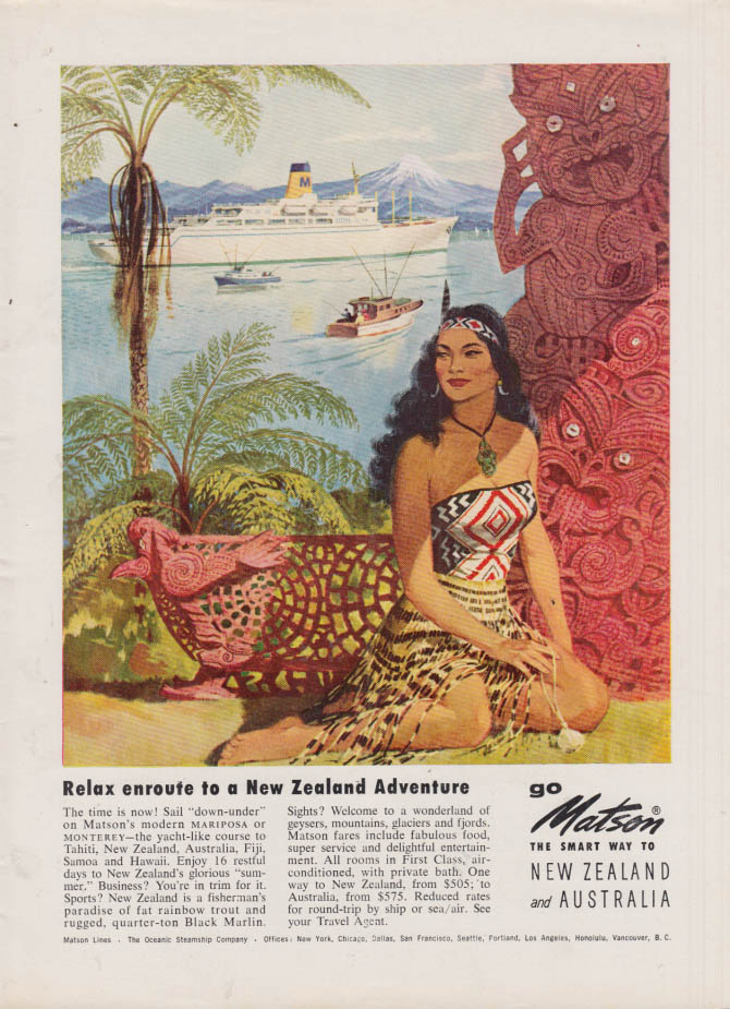 Image for Relax en route to a New Zealand Adventure Matson Line ad 1958 NY native girl