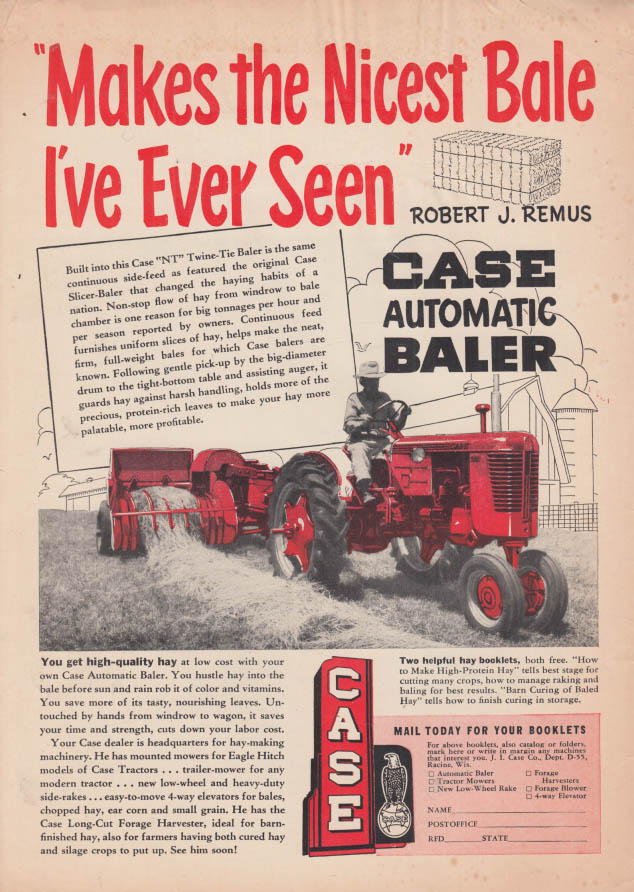 Image for Makes the Nicest Bale I've Ever Seen - Case Tractor & Automatic Baler ad 1953