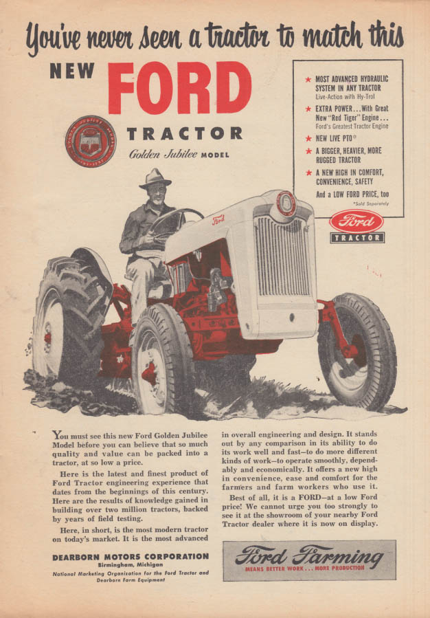Image for Never a tractor to match this new Ford Golden Jubilee Model ad 1953