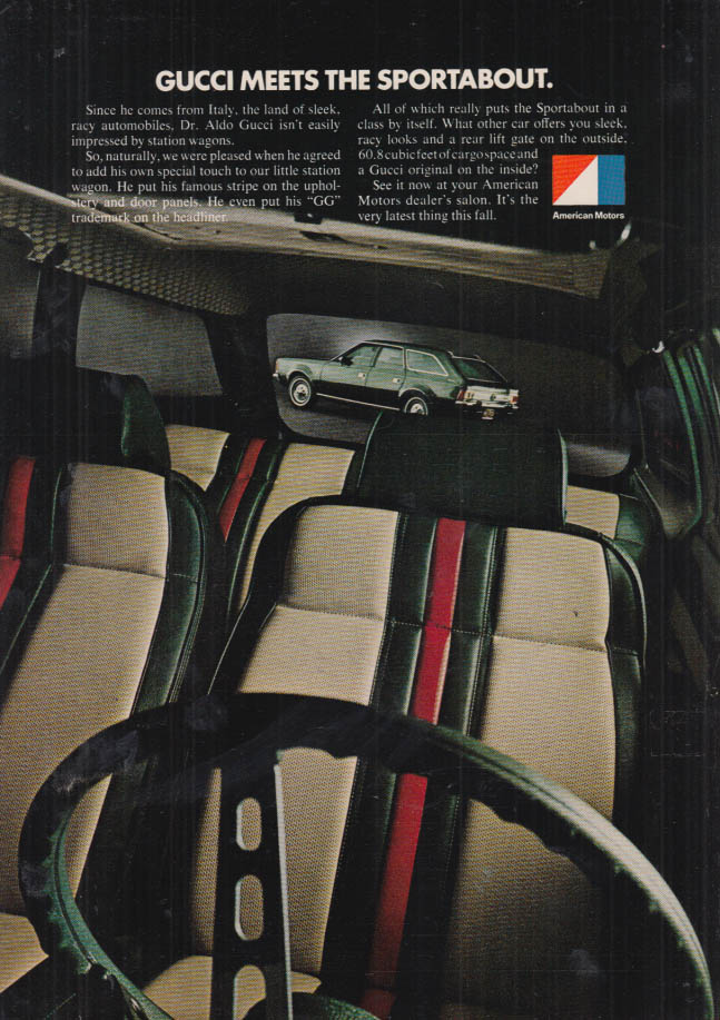 Image for Gucci meets the AMC Sportabout American Motors ad 1972 NY