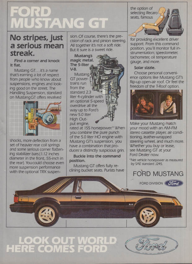 Image for No stripes just a serious mean streak Ford Mustang GT ad 1982 R&T
