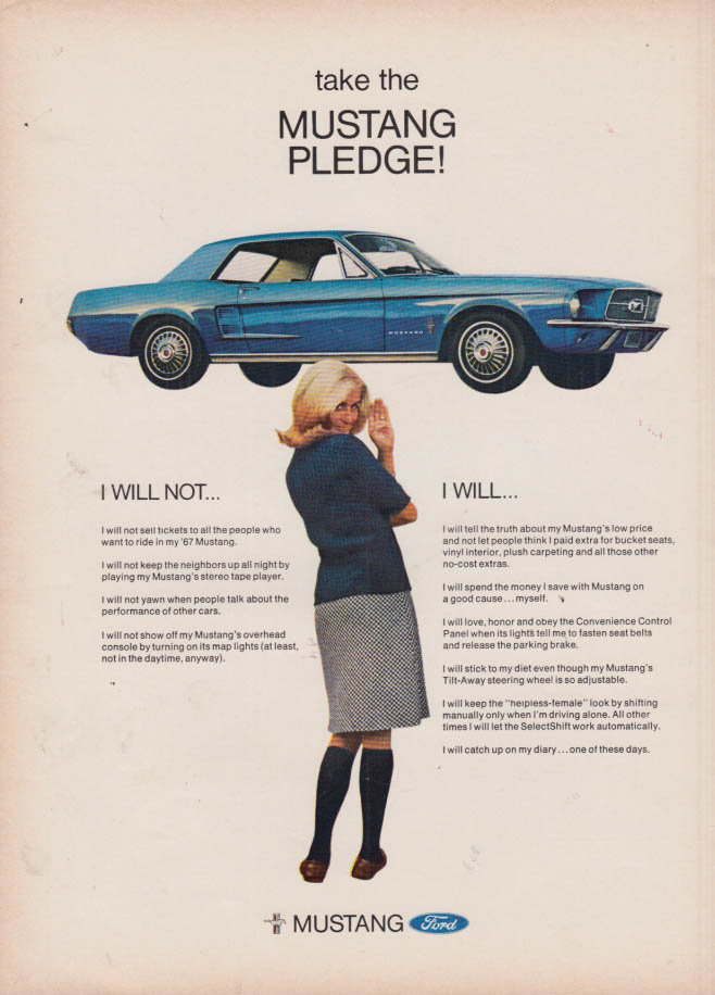 Image for Take the Ford Mustang Pledge! I Will Not - I Will ad 1967 NY