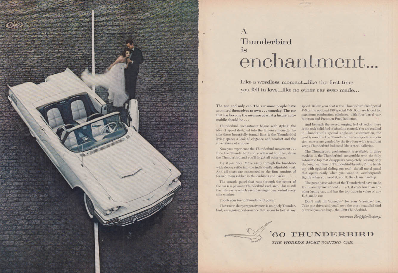 Image for A Ford Thunderbird Convertible is enchantment ad 1960 NY