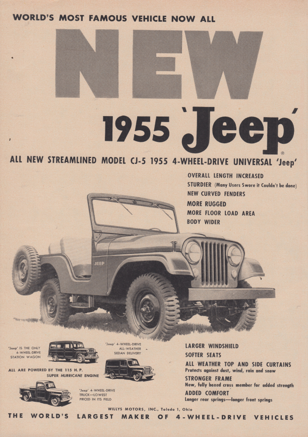 Image for All new streamlined Jeep Model CJ-5 4-wheel-drive ad 1955