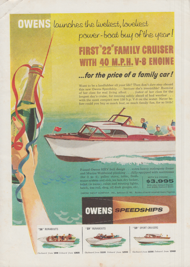 Image for Owens launches the Speedship 22 for the price of a family car ad 1957