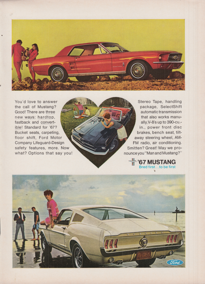 Image for You'd love to answer the call of Ford Mustang ad 1967 NY