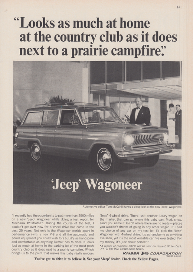Image for At home at the country club or a campfire Tom McCagill Jeep Wagoneer ad 1966