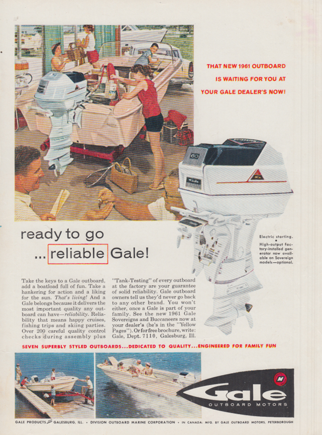 Image for Ready to go - reliable Gale Sovereign Outboard Motor ad 1961