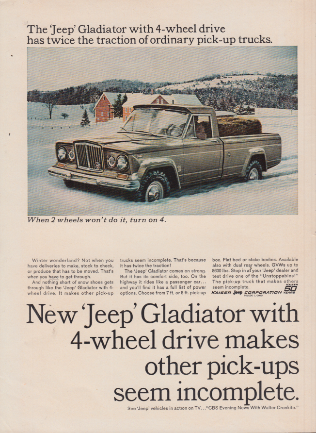Image for Makes other pick-ups seem incomplete Jeep Gladiator 4-wheel drive ad 1965 BW