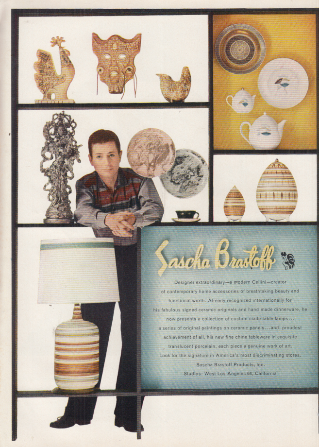 Image for Sascha Brastoff comtemporary home accessories ad 1956 NY
