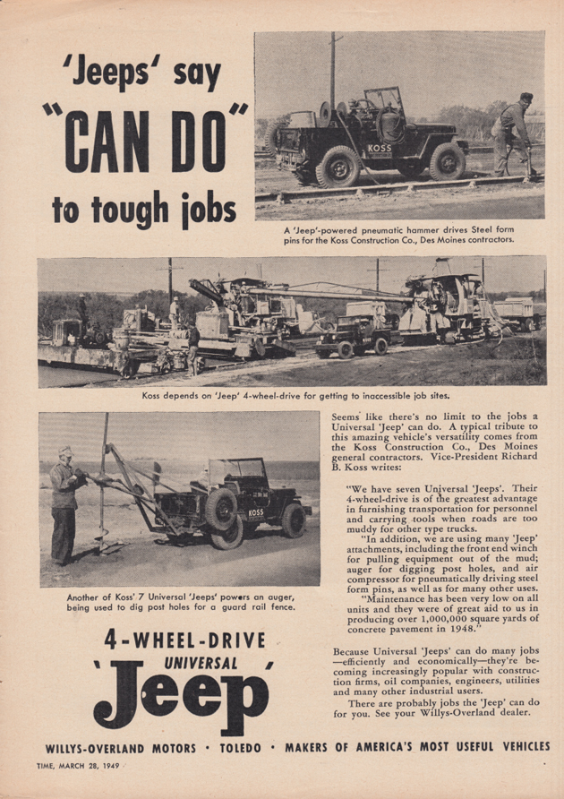 "Image for Jeeps say ""Can Do"" to tough jobs Willys Jeep ad 1949 T"