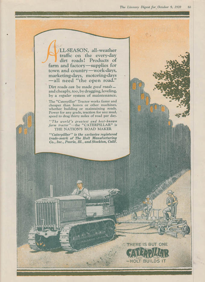 Image for All-Season all-weather traffic Caterpillar Tractor ad 1920 LD
