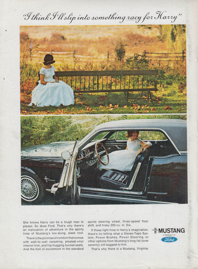 Image for I think I'll slip into something racy for Harry Ford Mustang ad 1966 NY