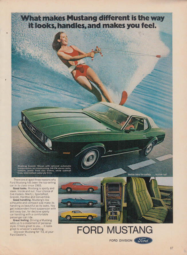 Image for What makes Ford Mustang Grande different ad 1973 girl waterskiing