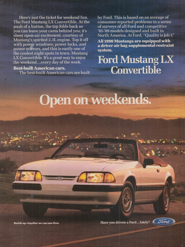 Image for Open on weekends Ford Mustang LX Convertible ad 1990 var