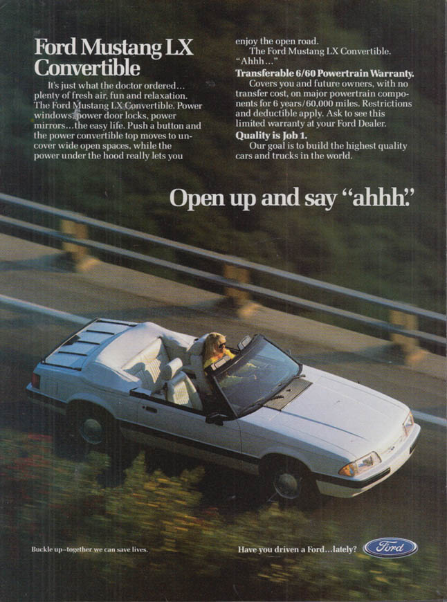 """Image for Open up and say """"ahh"""" Ford Mustang LX Convertible ad 1989 var"""