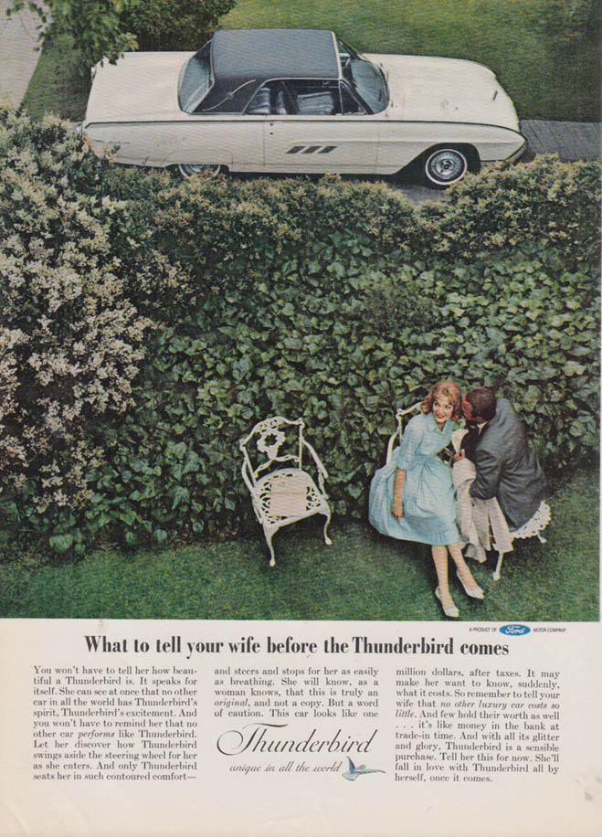 Image for What to tell your wife before the Ford Thunderbird comes ad 1963 NY