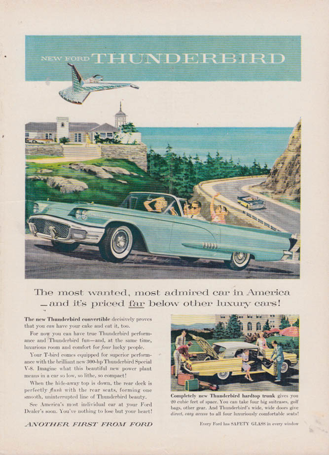 Image for The most wanted admired car in America Ford Thunderbird Convertible ad 1958 NY