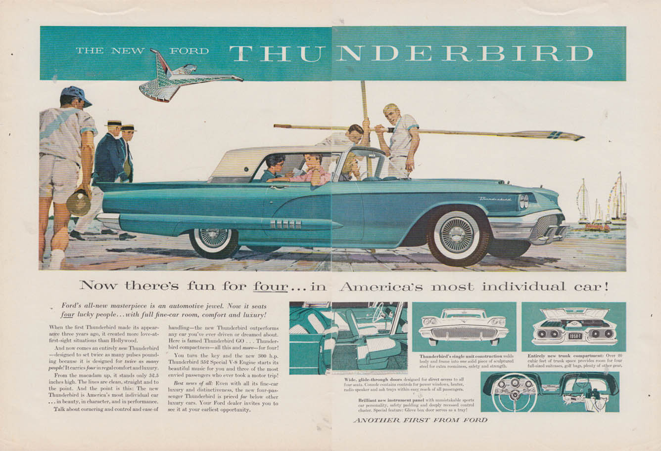 Image for Now there's fun for four - Ford Thunderbird ad 1958 NY