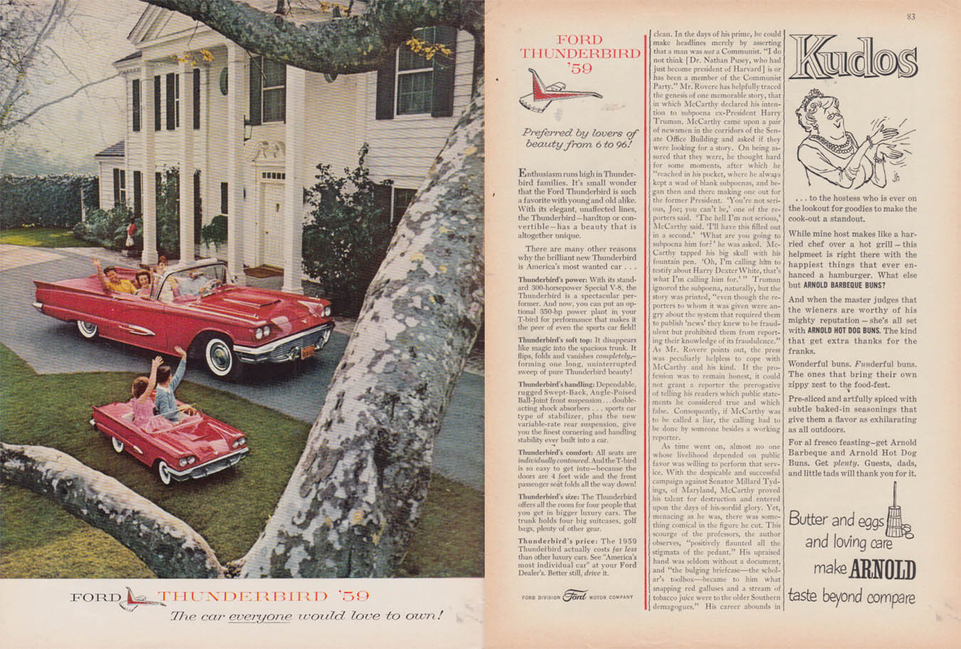 Image for Preferred by lovers of beauty from 6 to 96 Ford Thunderbird Jr ad 1959 NY